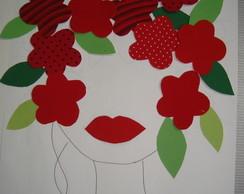 Aplique Cabe�a de Flores Vermelhas