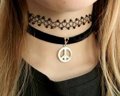 Gargantilha de veludo Paz e amor