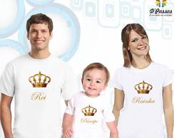 Kit 3 camisetas- Rei,Rainha e Principe