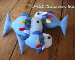 Trio de almofadas peixe azul