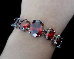 Pulseira Pedras Vermelhas