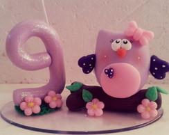 Topo de bolo e vela coruja