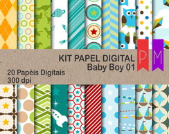 Kit Papel Digital Baby Boy 01