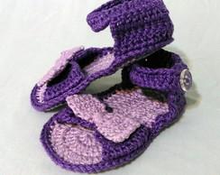 Sand�lia lil�s para beb� com lacinho