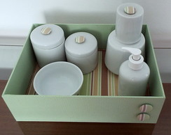 Kit Higiene Porcelana Po�&Listras Verde