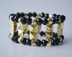 Bracelete preto e spike dourado - C�d 94