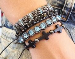 Kit pulseiras femininas com crucifixo