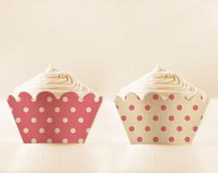 Forma para Cupcake Bolinhas Cor de Rosa