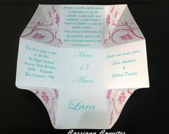 Convite de 15 Anos Floral Rosa