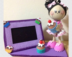 Boneca Cupcake com porta retrato em EVA