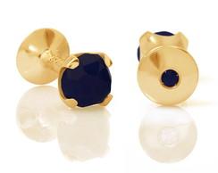 Abotoadura Even - Ouro, Safira Azul