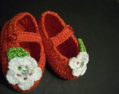 Sapatilha baby em croch� com flor