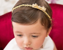 Tiara PRINCESA dourada com la�o & strass