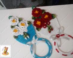 Porta pano de prato 3 flores ref 02