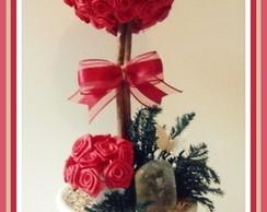 Topiara Flor Cetim Vermelho C/Cristal