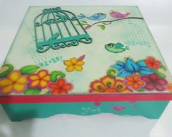 "Caixa Organizadora ""Flores e P�ssaros"""