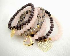 Conjunto de pulseiras semi joias