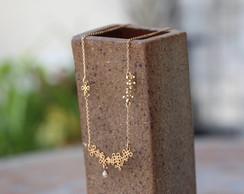 Gargantilha Tattoo Flor P�rola - Dourada