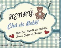 Convite Ch� de Beb�- Menino