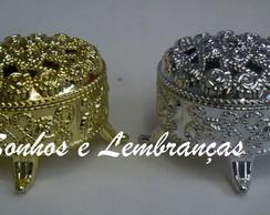 Mini porta j�ias dourado/prata/cristal