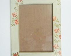 """Porta Retrato R�stico """"Rosa Vermelha"""""""