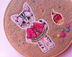 Quadrinho de Bastidor Gatinha Cupcake