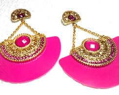 Brinco Leque Strass Pink