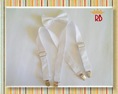 Conjunto Suspens�rio & Gravatinha Branco