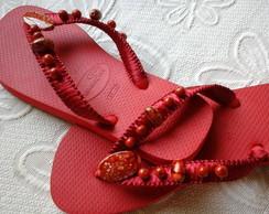 Sand�lia Vermelha Bordada Com Pedrarias
