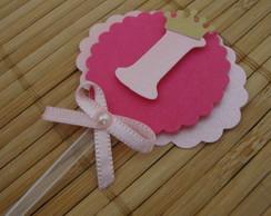 Topper rosa / n�mero com coroa