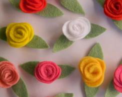 Rosa - aplique de feltro