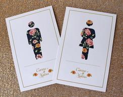 Plaquinha de banheiro - Floral Elegante