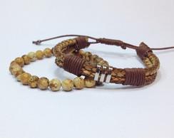 Kit pulseiras couro e pedra jaspe