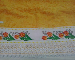 Jogo de Banho bordado com pt cruz amarel