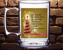 Caneca Acr�lico Natal �rvore vermelha