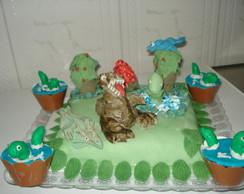 bolo decorado dos dinossauros.