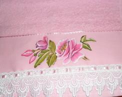 Toalha de lavabo rosa com rosa