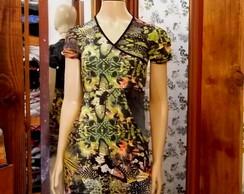 Vestido estampado manga curta Ver�o 2015