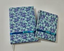 Conjunto de Agenda e bloquinho azul flor