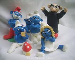 smurfs topo de bolo
