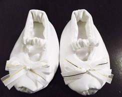 Sapatinho de beb� peep toe branco