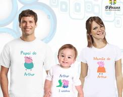 Kit 3 camisetas- Peppa Pig / George Pig