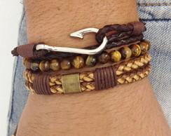 Kit pulseiras olho de tigre couro anzol