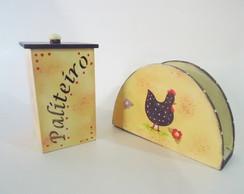 Kit Paliteiro e Porta Guardanap Galinhas