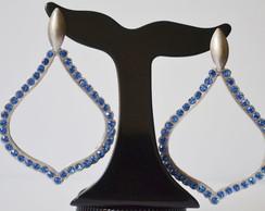 Brinco prata velho e azul - C�d. 395