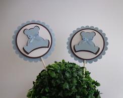 Topper Enfeite - Urso azul e marrom