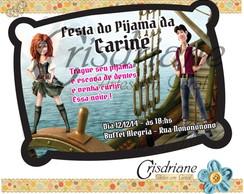 Convite travesseiro Fadas e Piratas