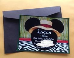 Convite Anivers�rio Tema Mickey Safari