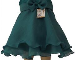 Vestido Infantil Organza Verde: 483BDA
