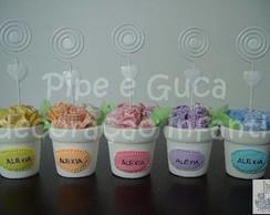 (LC 0079) Porta recado vaso flor tecido